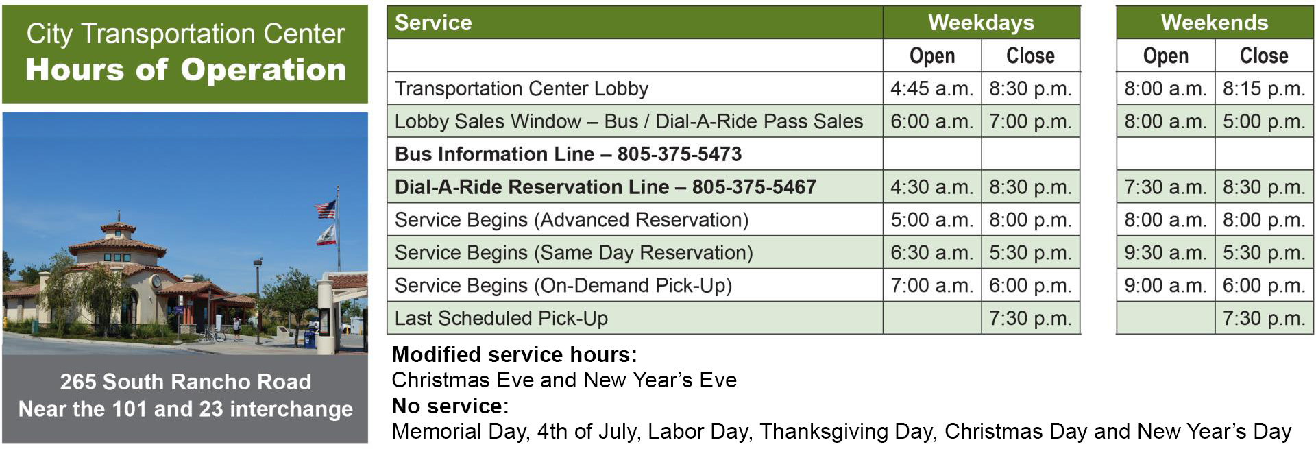 Thousand Oaks Transit General Hours of Operation