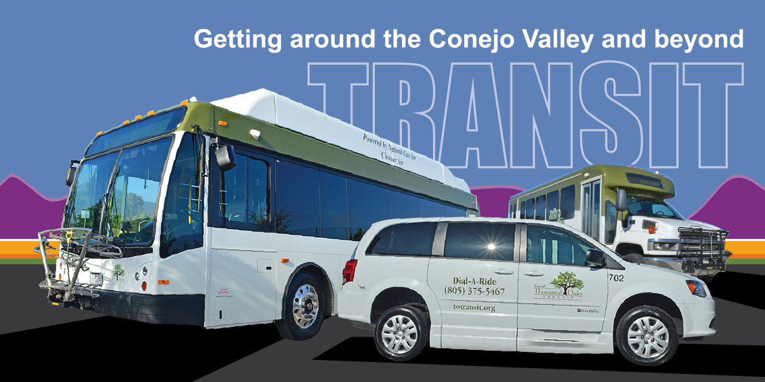 Transit Home Page Header Vehicle Montage: Getting around the Conejo Valley and beyond
