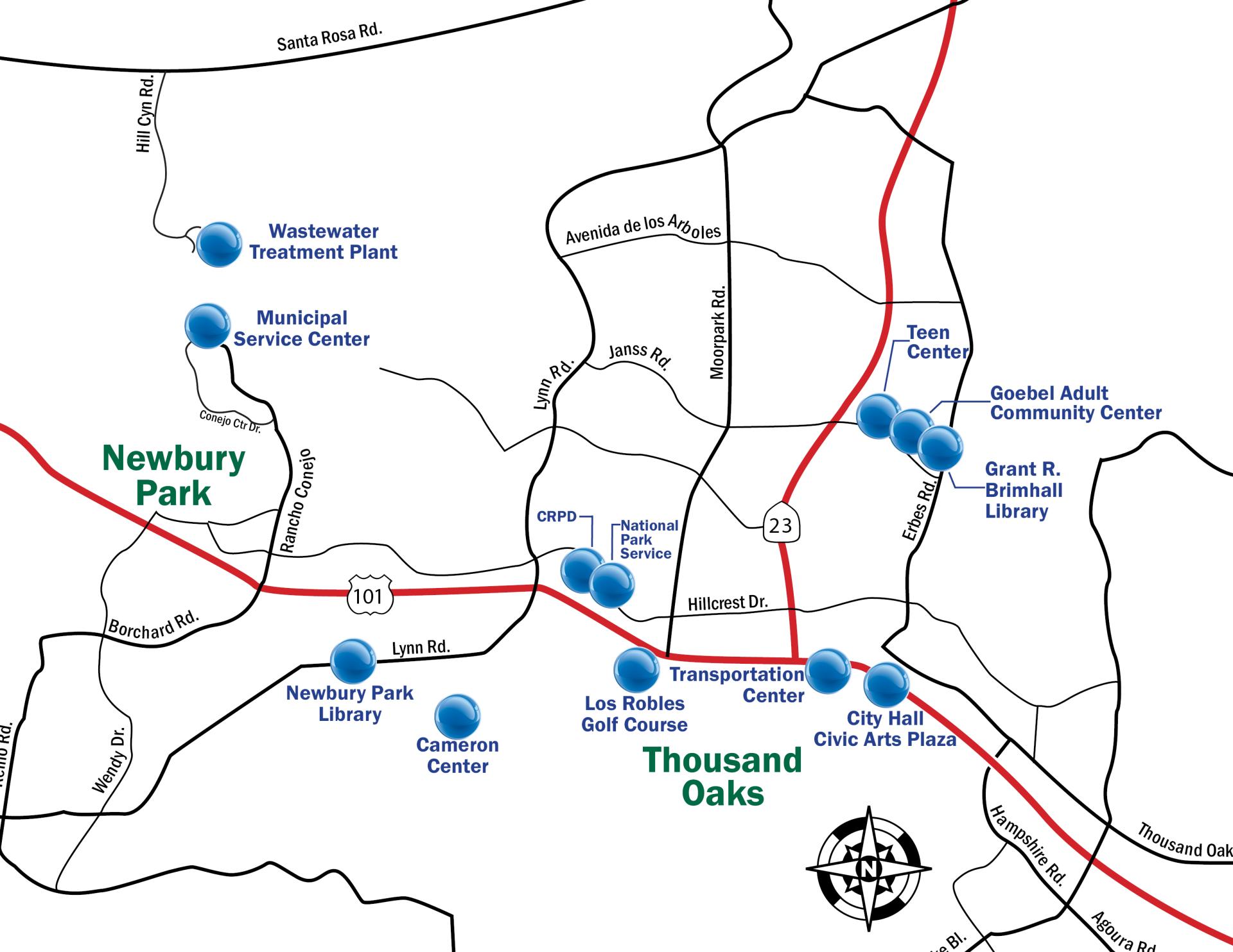 Live City Electric Use Thousand Oaks CA - Thousand oaks map