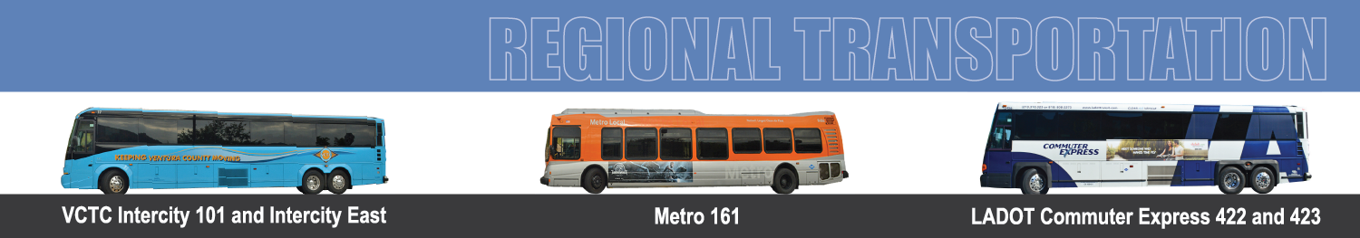 Regional Transportation Page Header with VCTC, Metro 161 and LADOT bus images