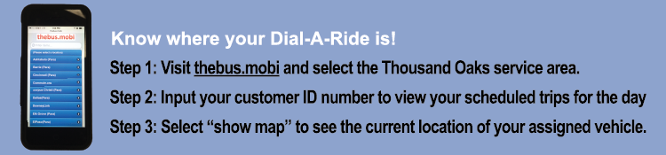 Know where your Dial-A-Ride is graphic for mobile phones