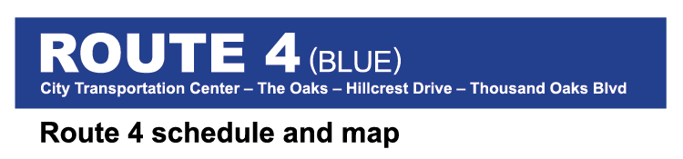 Thousand Oaks Transit Route 4 Blue System Map cover image
