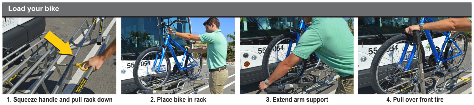 Load your bike: 1. squeeze handle and pull rack down, 2. place bike in rack, 3. extend arm support, 4. pull over front tire