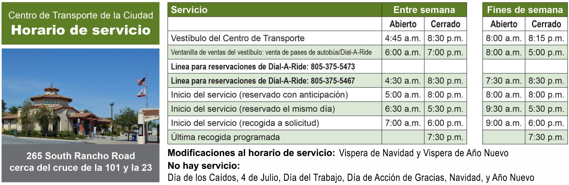 Thousand Oaks Transit General Service Hours of Operation Spanish Version