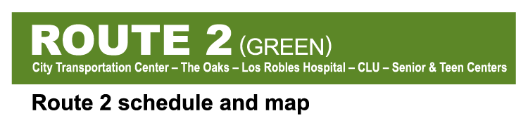 Thousand Oaks Transit Route 2 Green system map cover image