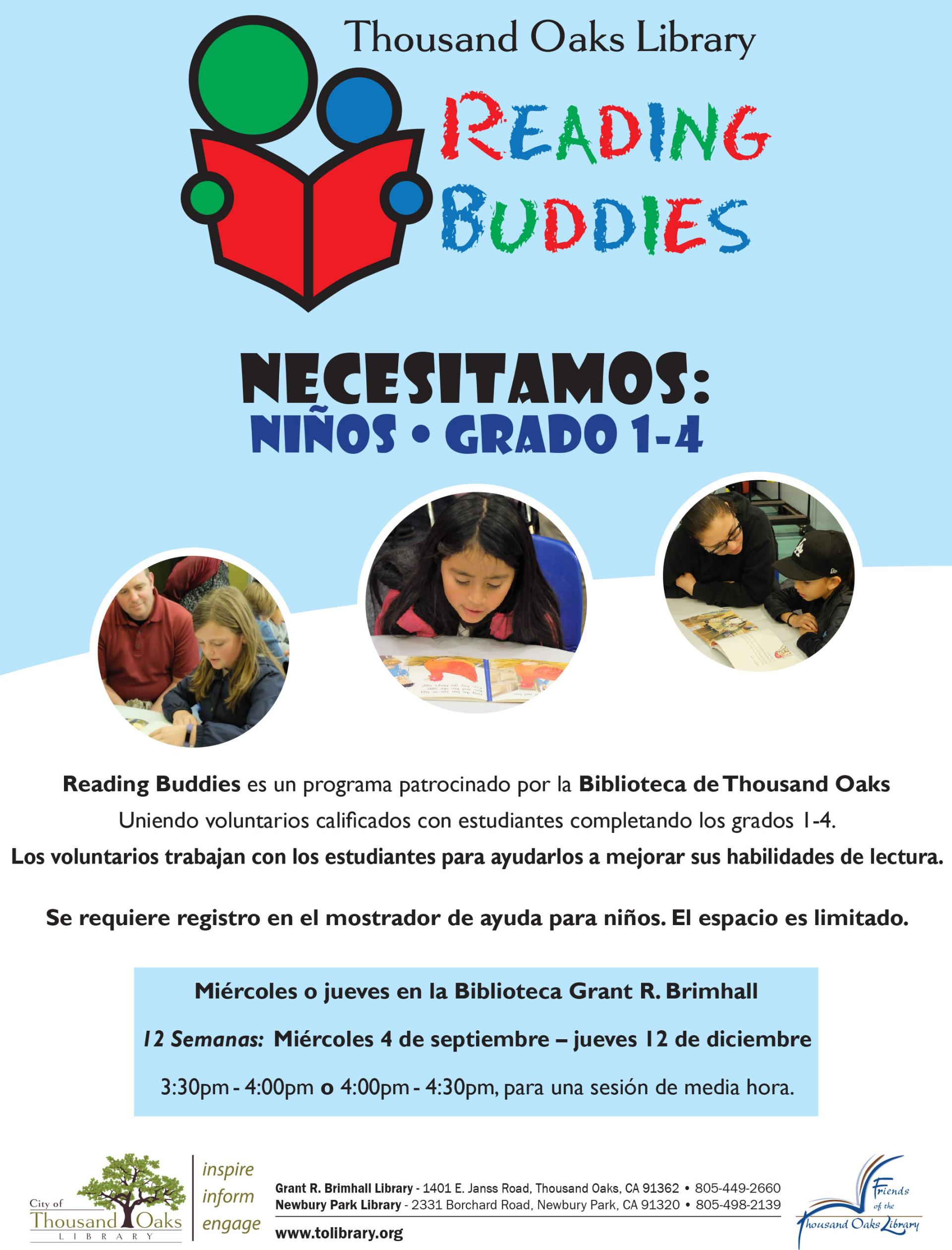 Reading Buddies Flyer - Fall 2019-Spanish