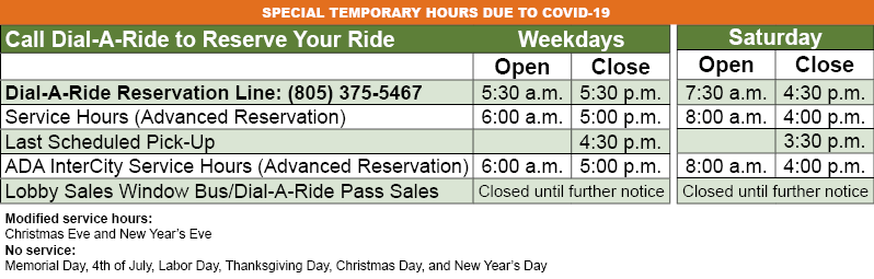 Temporary Dial-A-Ride Hours (due to COVID-19)