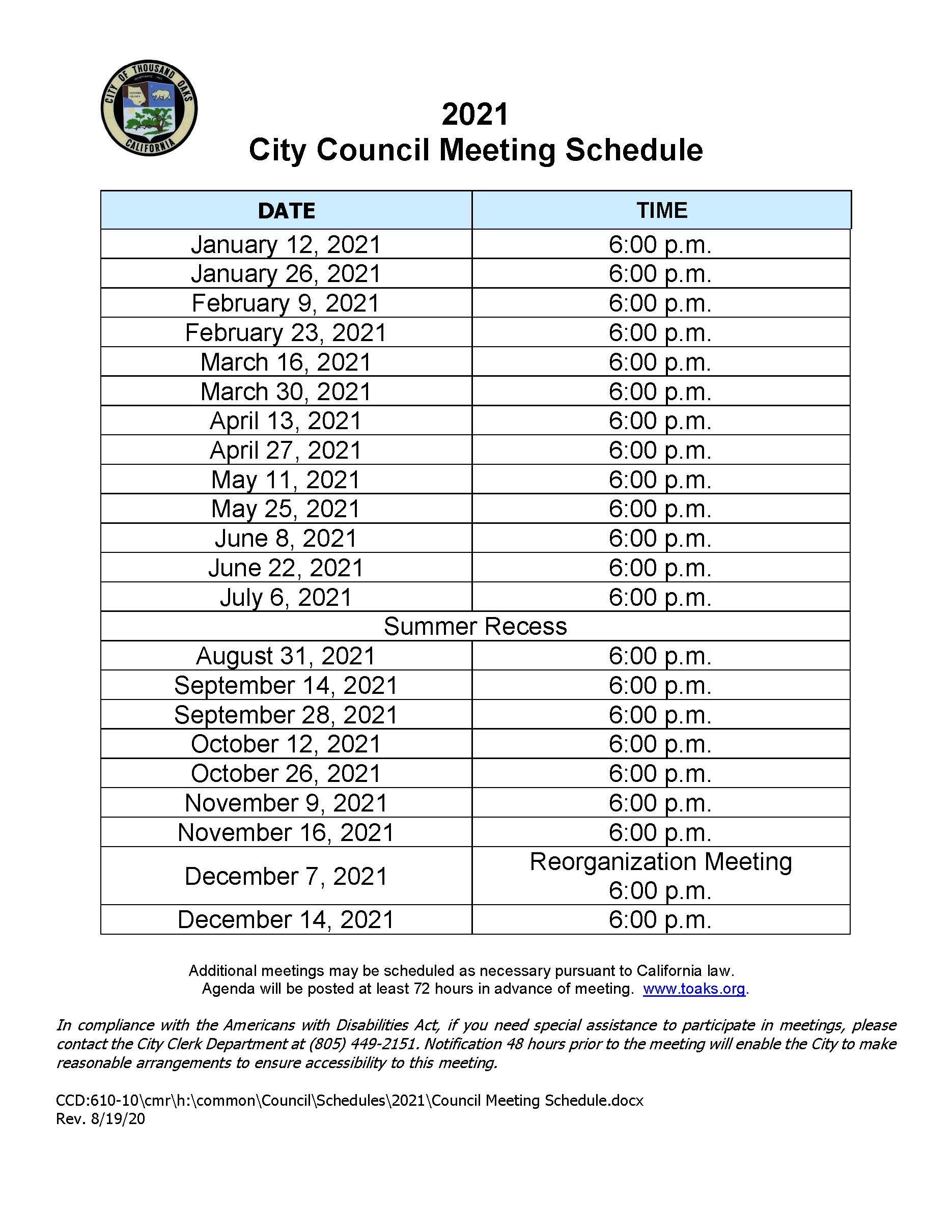 2021 Council Meeting Schedule