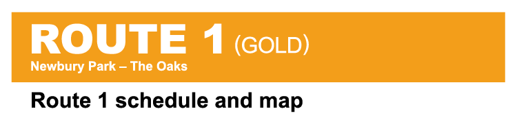 Thousand Oaks Transit Route 1 Gold system map cover image