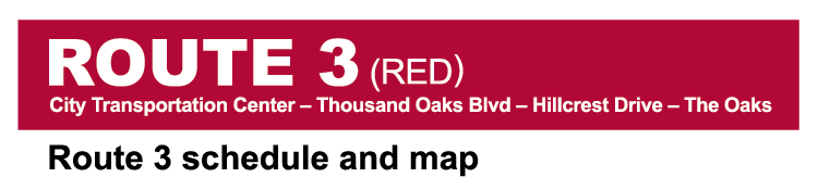 Thousand Oaks Transit Route 3 Red System Map cover image
